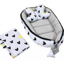 Baby Nellys Obojstranné hniezdo – Minky Mickey + vankúšik a deka