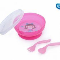 Canpol Babies Uzatvárateľná miska s lyžičkou a vidličkou Toys – ružová
