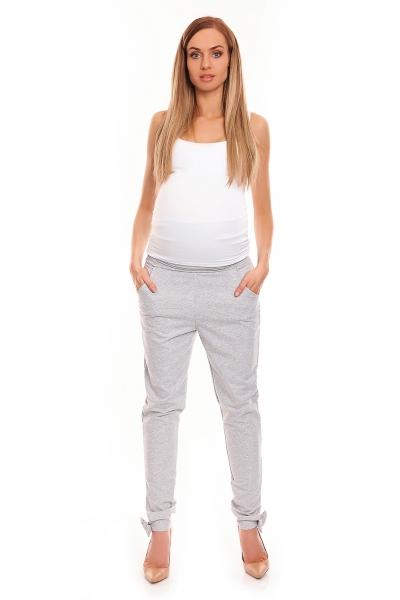 Tehotenské tepláky s pružným pásom – šedé