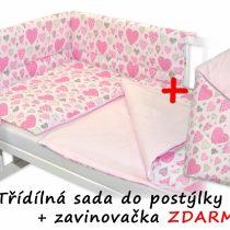 Baby Nellys 3 dielna sada Mantinel s obliečkami srdiečka ružová + zavinovačka ZADARMO