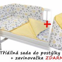 Baby Nellys 3 dielna sada Mantinel s obliečkami srdiečka žltá + zavinovačka ZADARMO