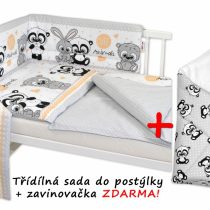 Baby Nellys 3 dielna sada Mantinel s obliečkami zvieratká sivá + zavinovačka ZADARMO