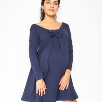 Elegantné tehotenské šaty, áčkový strih, dlhý rukáv – granátové