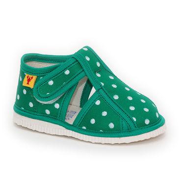 RAK Papuče zelená bodka s uzavretou špicou