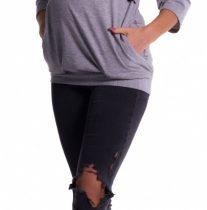 Tehotenské a dojčiace teplákové triko – sivý melír