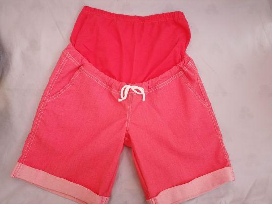 Tehotenské elesticke krátke nohavice – červené